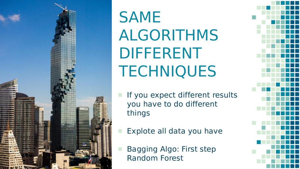 SAME ALGORITHMS DIFFERENT TECHNIQUES ▪ If you e...