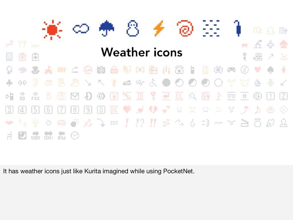 It has weather icons just like Kurita imagined ...