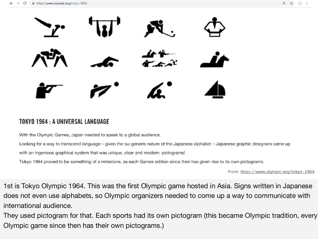 1st is Tokyo Olympic 1964. This was the first Ol...
