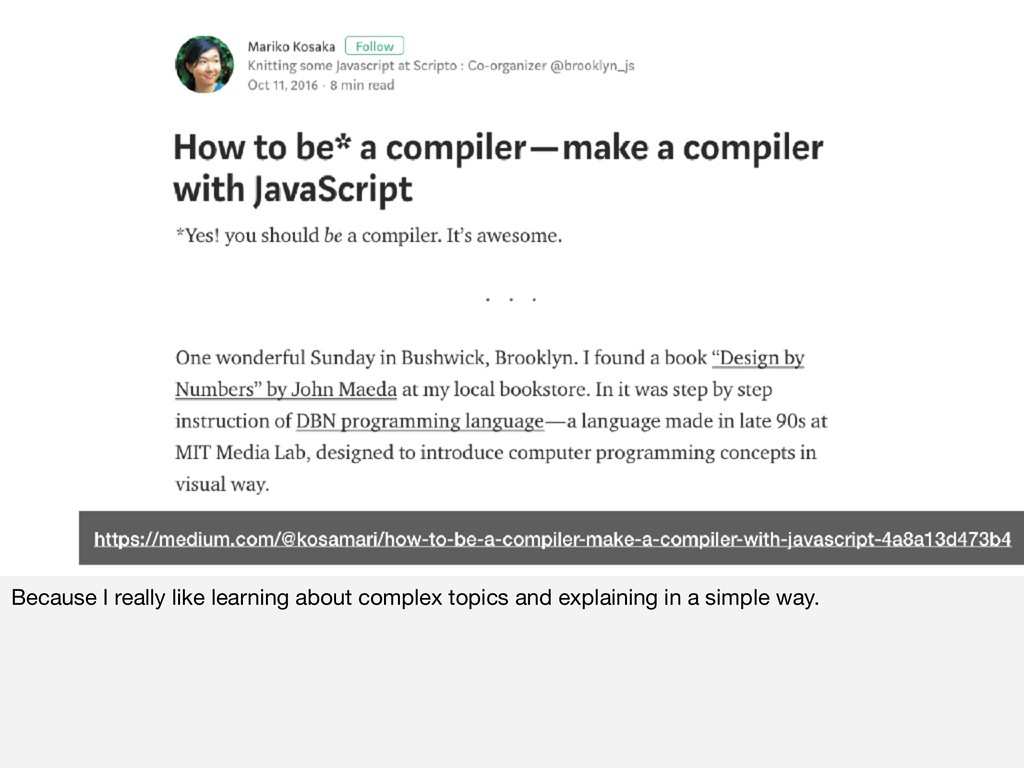 Because I really like learning about complex to...