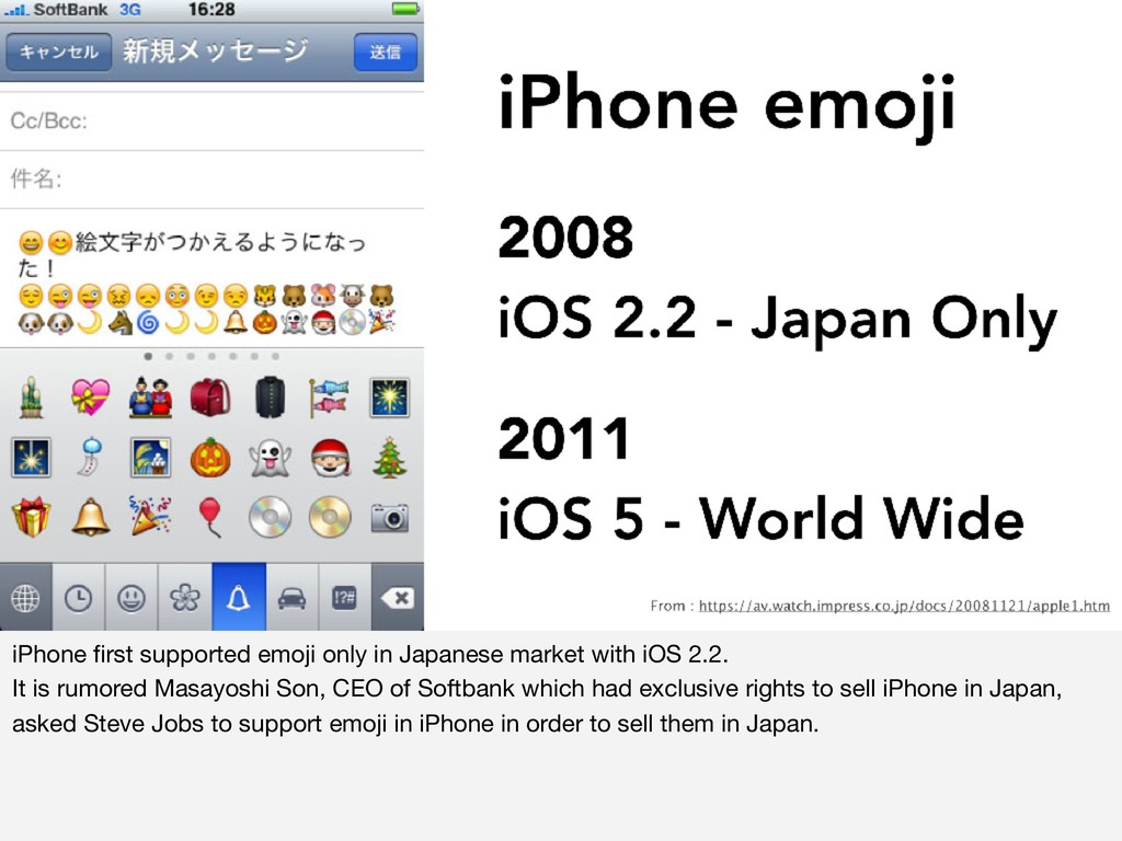 iPhone first supported emoji only in Japanese ma...