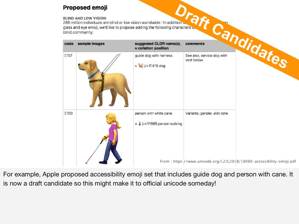 For example, Apple proposed accessibility emoji...