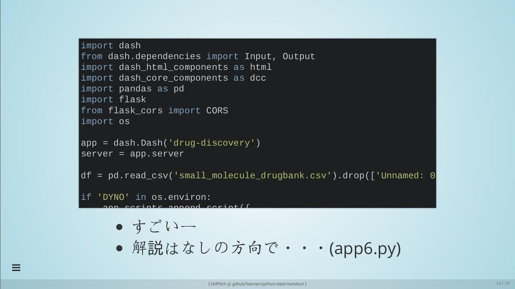 すごいー 解説はなしの方向で・・・(app6.py) import dash from das...