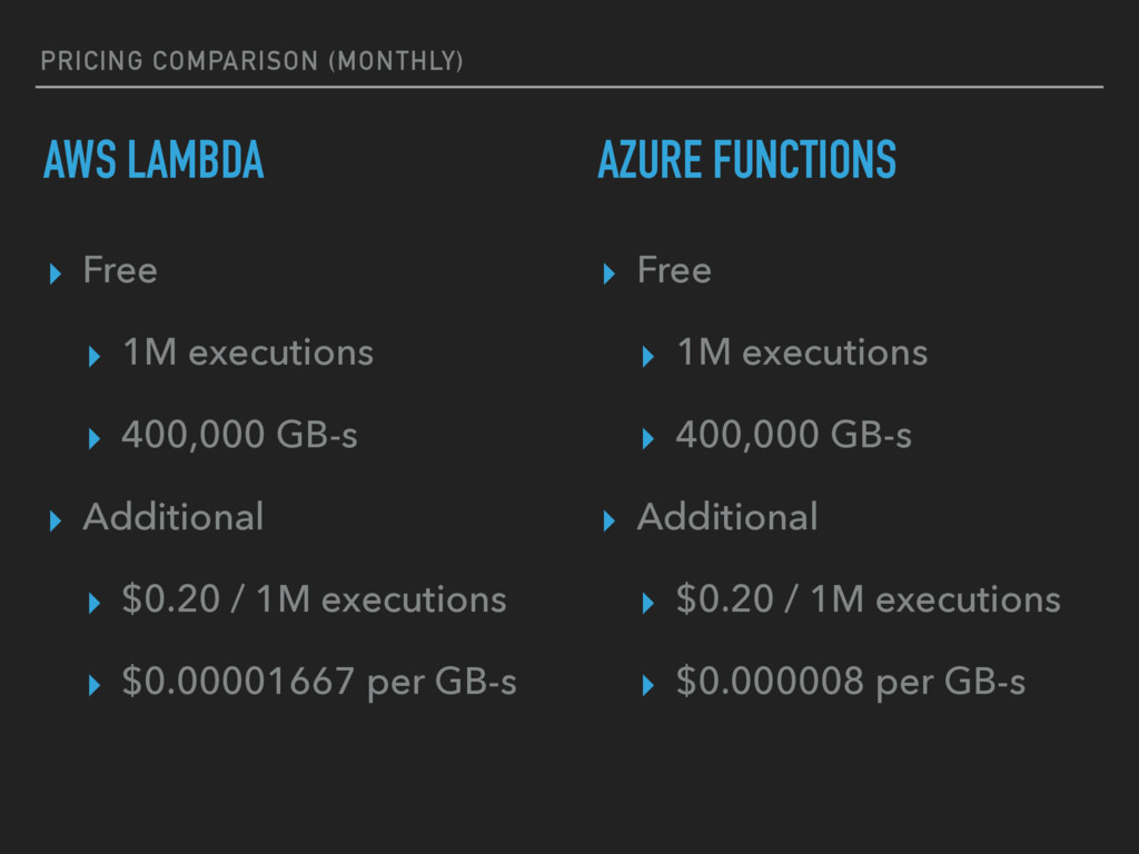 PRICING COMPARISON (MONTHLY) AWS LAMBDA ▸ Free ...
