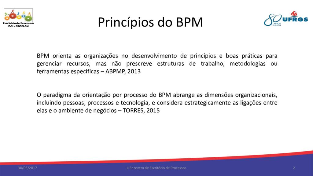 Princípios do BPM 30/05/2017 II Encontro de Esc...