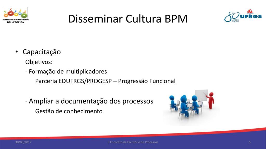 Disseminar Cultura BPM • Capacitação Objetivos:...