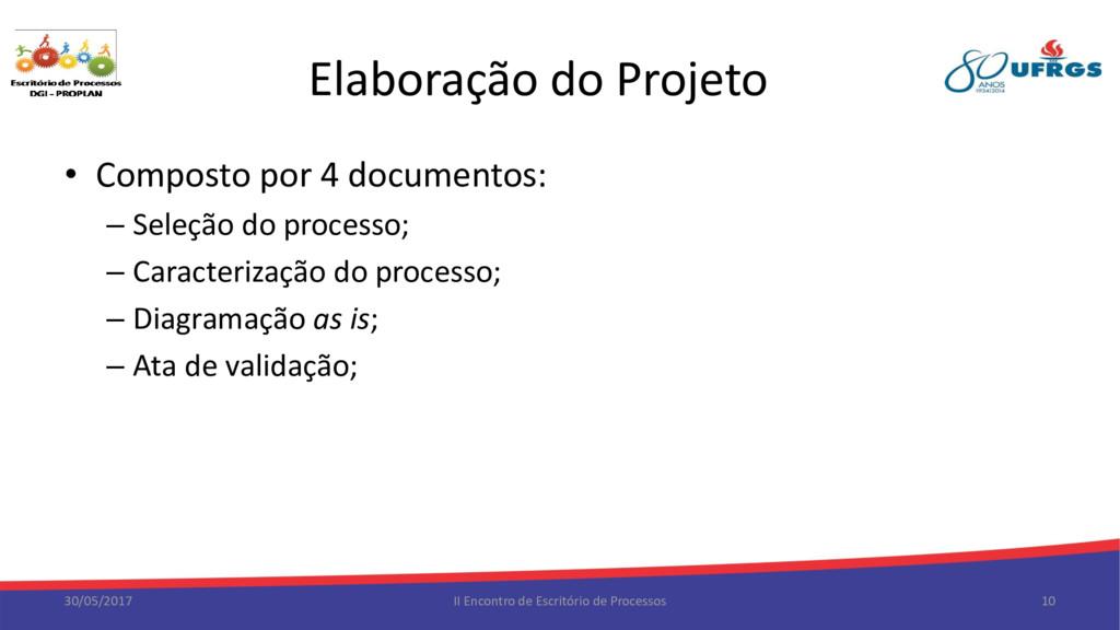 Elaboração do Projeto • Composto por 4 document...