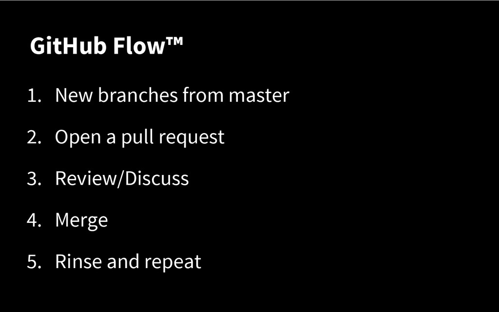 GitHub Flow™ 1. New branches from master 2. Ope...