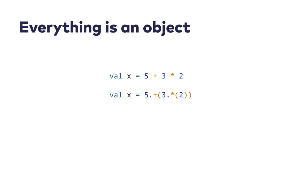 Everything is an object val x = 5 + 3 * 2 val x...