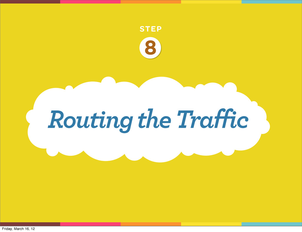 STEP Routing the Traffic 8 Friday, March 16, 12