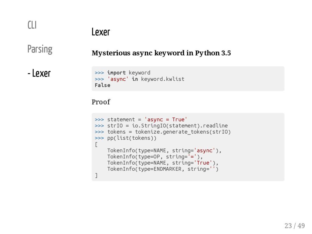 CLI Parsing - Lexer Lexer Mysterious async keyw...
