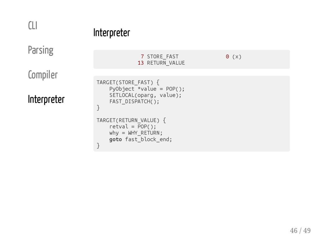 CLI Parsing Compiler Interpreter Interpreter 7 ...