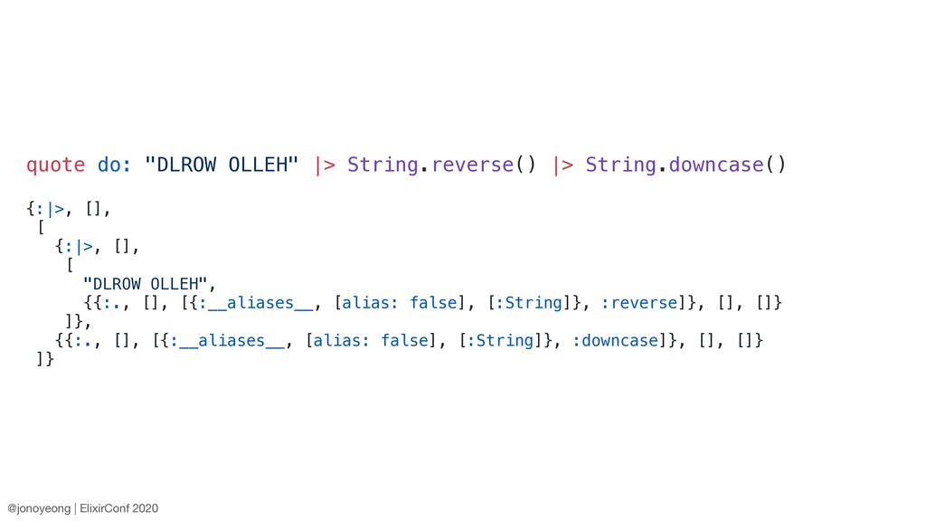 """quote do: """"DLROW OLLEH"""" 