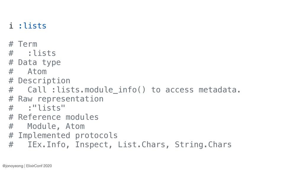 i :lists # Term # :lists # Data type # Atom # D...