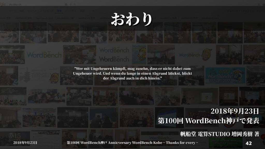 42 42 2018年9月23日 2018年9月23日 第100回 WordBenWordBe...