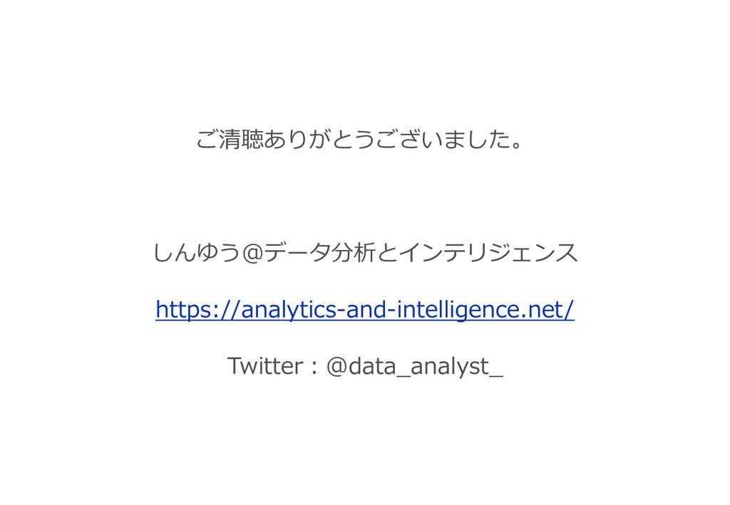 ご清聴ありがとうございました。 しんゆう@データ分析とインテリジェンス https://ana...