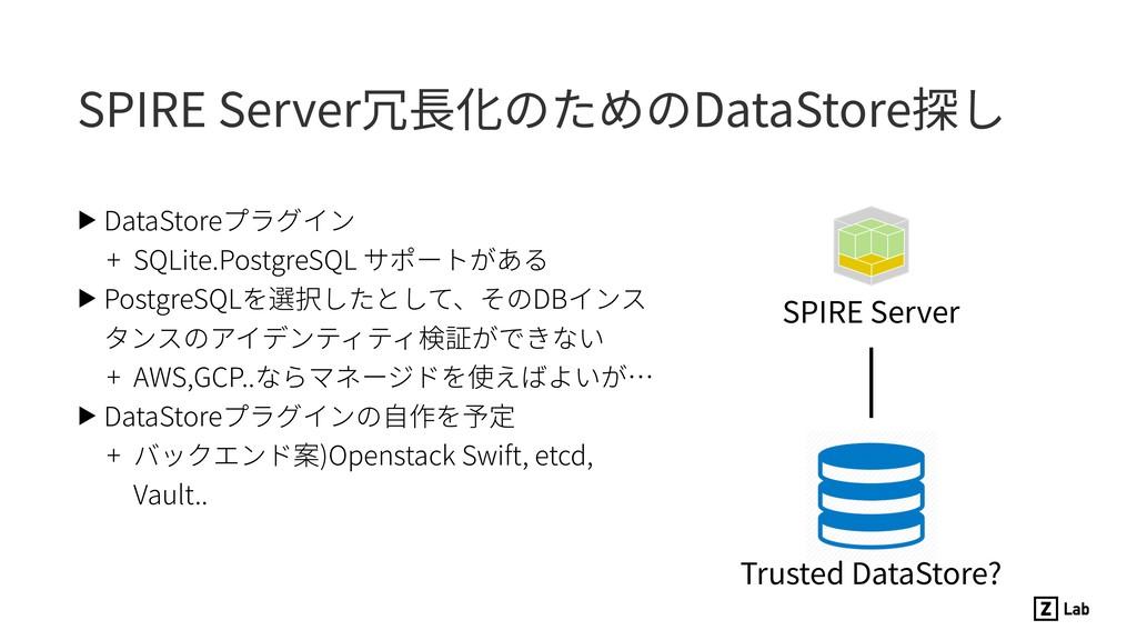 SPIRE Server冗⻑化のためのDataStore探し ▶ DataStoreプラグイン...