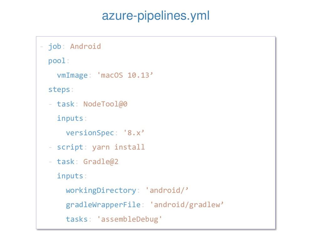 - job: Android pool: vmImage: 'macOS 10.13' ste...