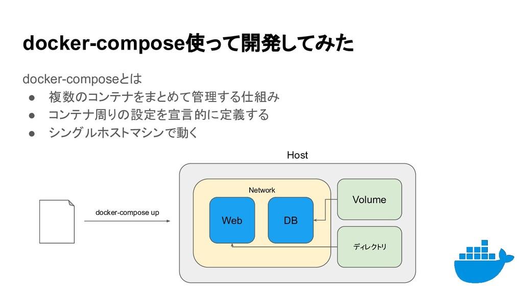 docker-compose使って開発してみた docker-composeとは ● 複数のコ...