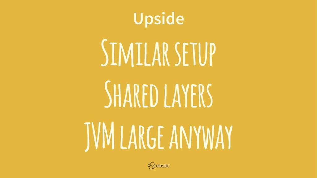 Upside Similar setup Shared layers JVM large an...