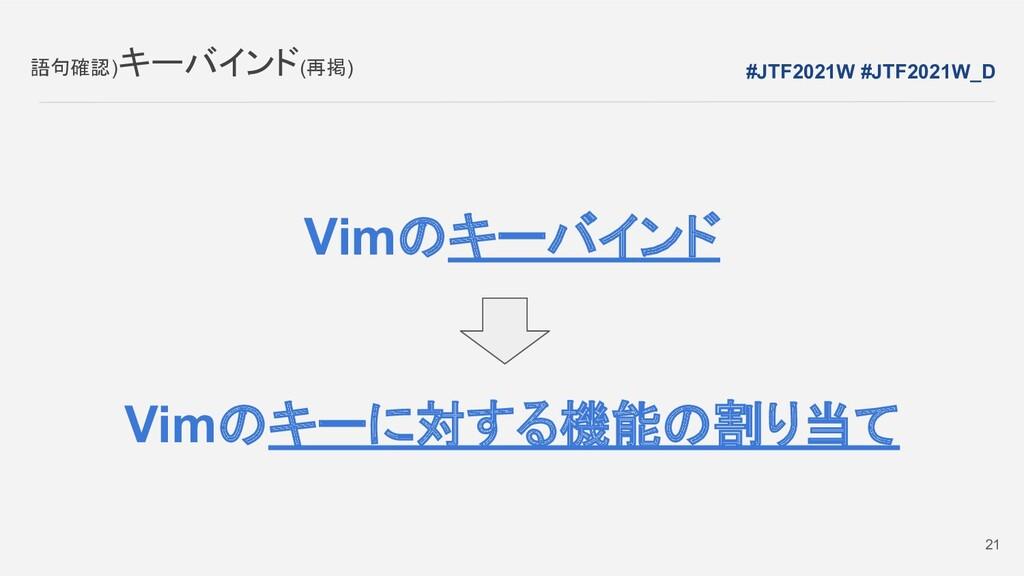 Vimのキーバインド Vimのキーに対する機能の割り当て 語句確認)キーバインド(再掲) 21...