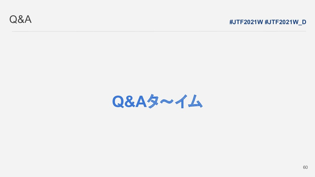 Q&A #JTF2021W #JTF2021W_D 60 Q&Aタ~イム