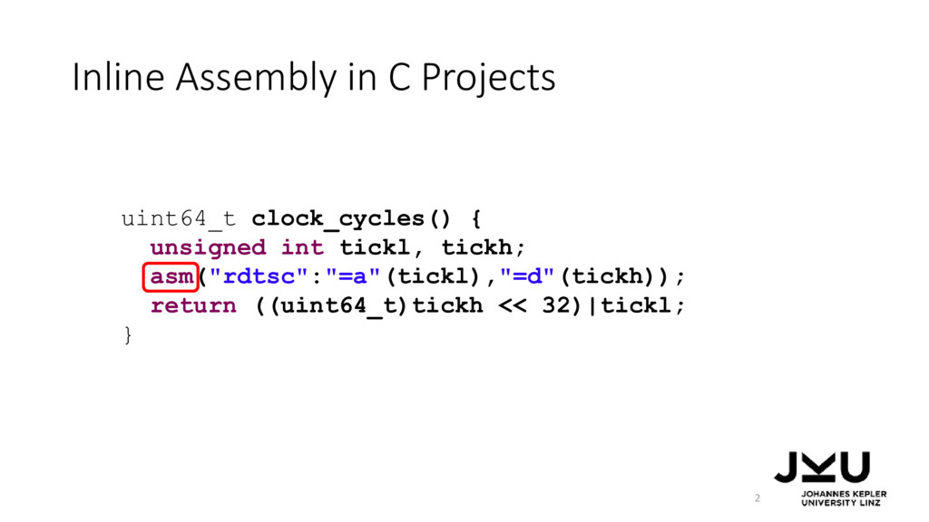 Inline Assembly in C Projects 2 uint64_t clock_...