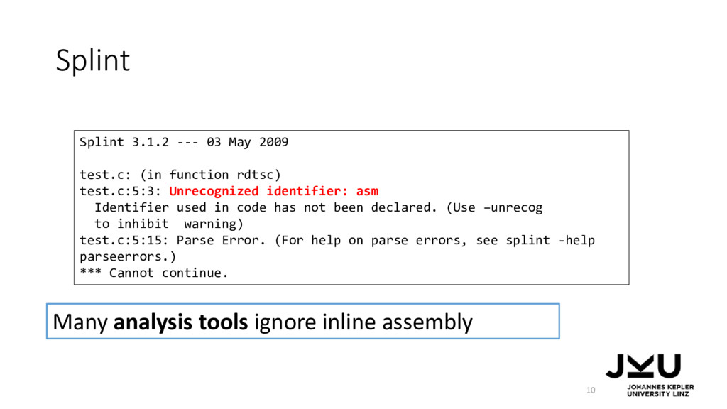 Splint 10 Splint 3.1.2 --- 03 May 2009 test.c: ...