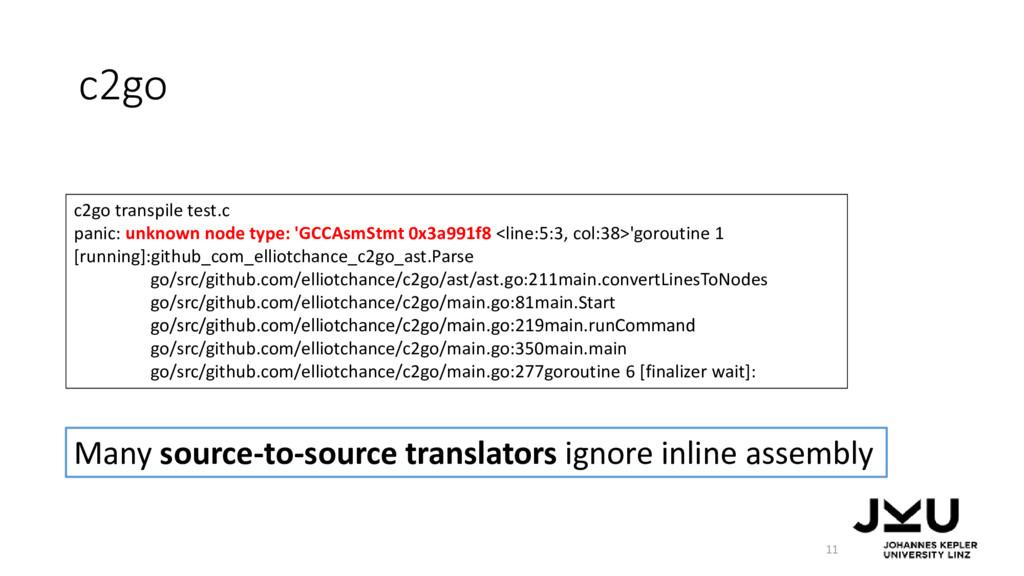 c2go 11 Many source-to-source translators ignor...