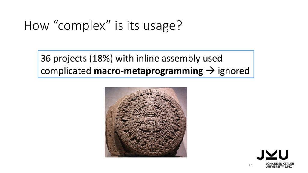"How ""complex"" is its usage? 17 36 projects (18%..."