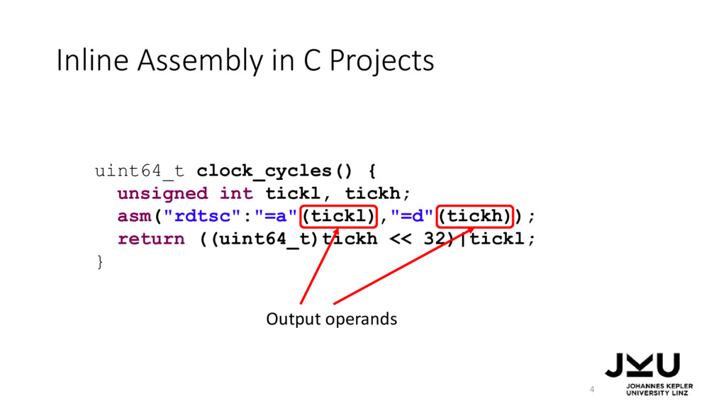 Inline Assembly in C Projects 4 uint64_t clock_...