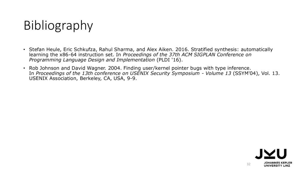 Bibliography • Stefan Heule, Eric Schkufza, Rah...