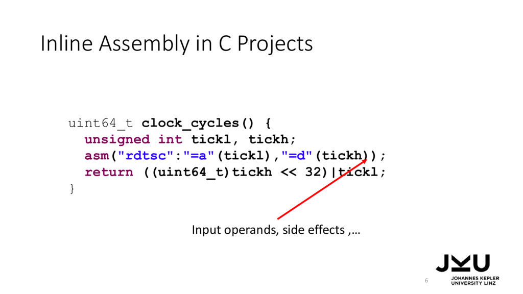 Inline Assembly in C Projects 6 uint64_t clock_...