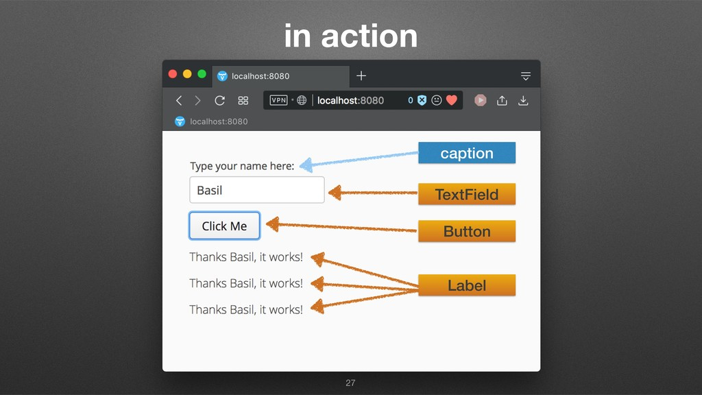 in action 27 caption TextField Button Label
