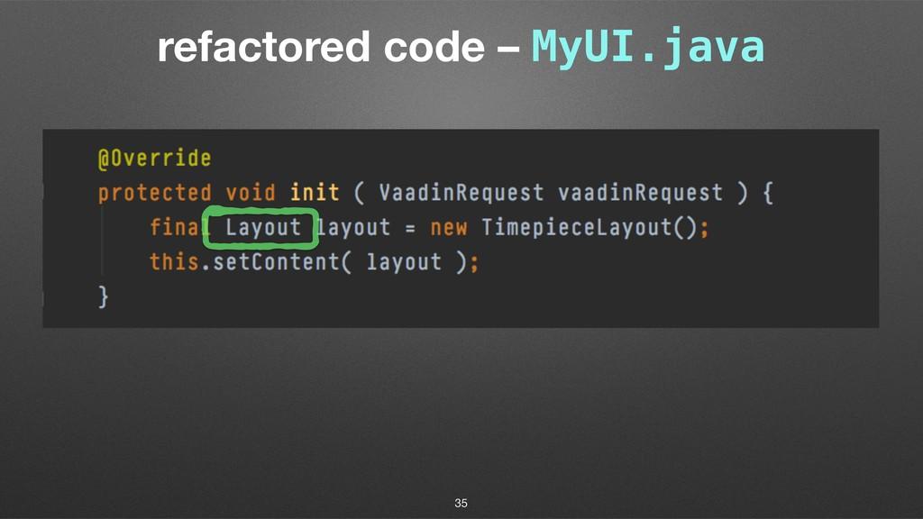 refactored code – MyUI.java 35