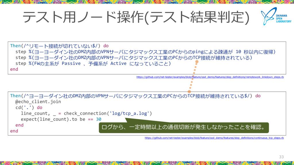 テスト用ノード操作(テスト結果判定) 33 Then(/^ヨーヨーダイン社のDMZ内部のVPN...