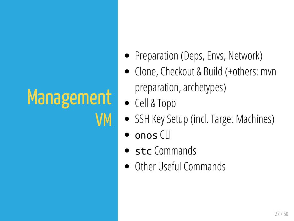 27 / 50 Management VM Preparation (Deps, Envs, ...