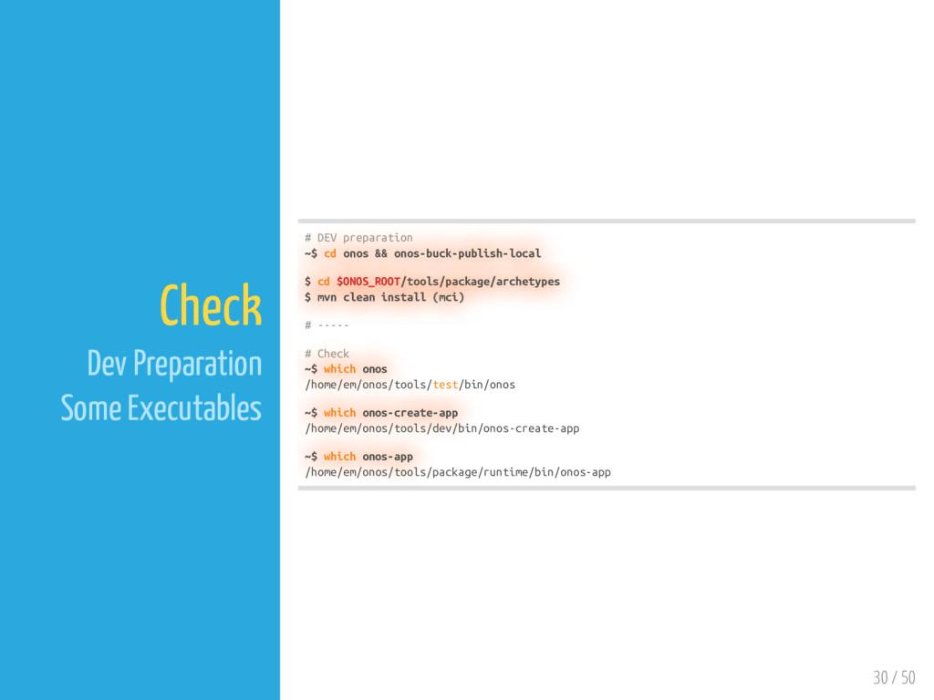 30 / 50 Check Dev Preparation Some Executables ...
