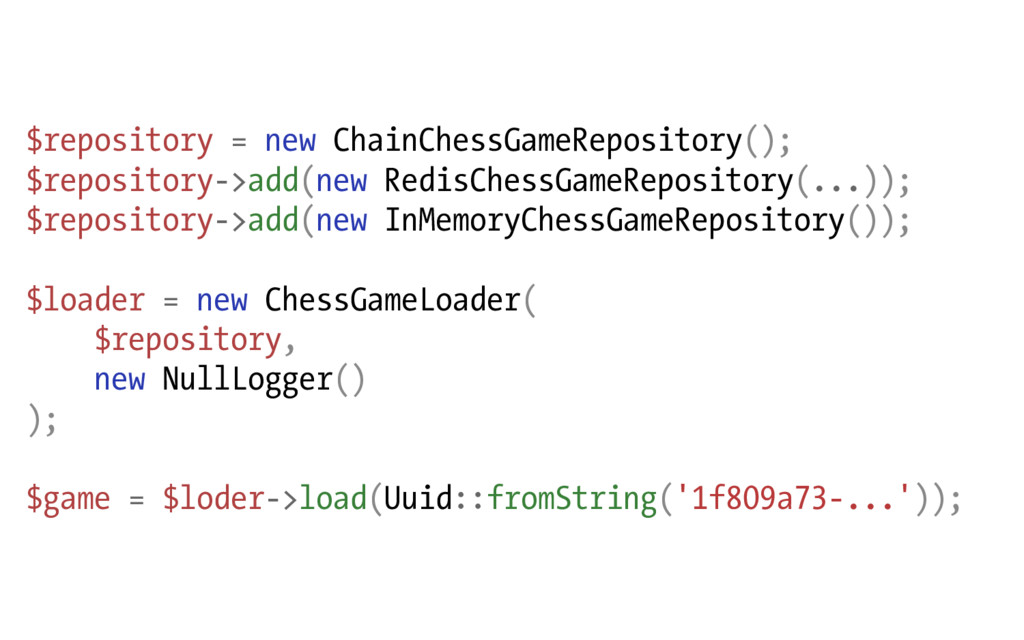 $repository = new ChainChessGameRepository(); $...
