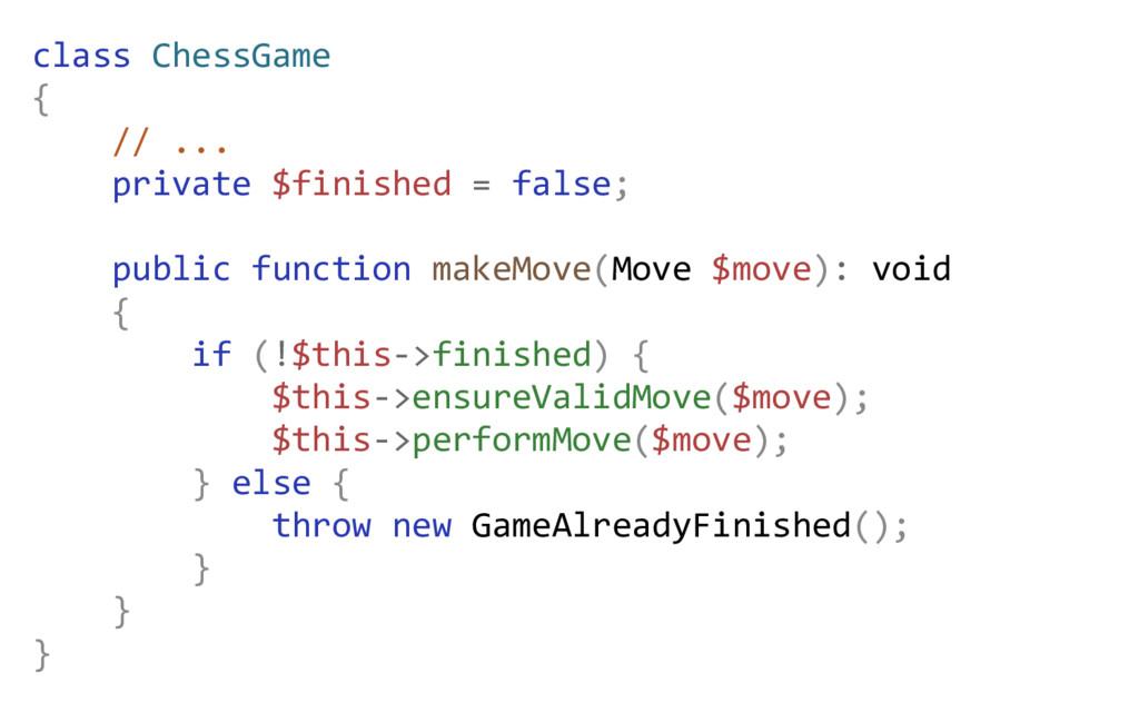 class ChessGame { // ... private $finished = fa...