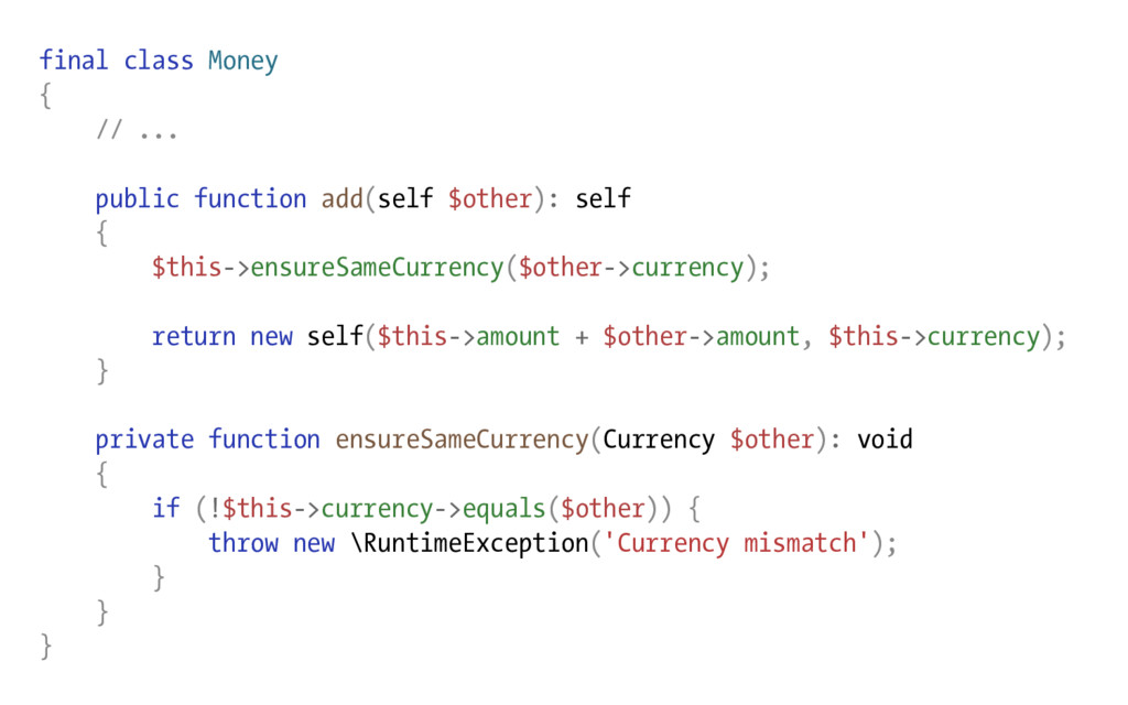 final class Money { // ... public function add(...