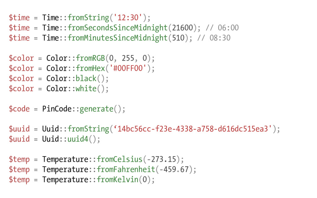 $time = Time::fromString('12:30'); $time = Time...