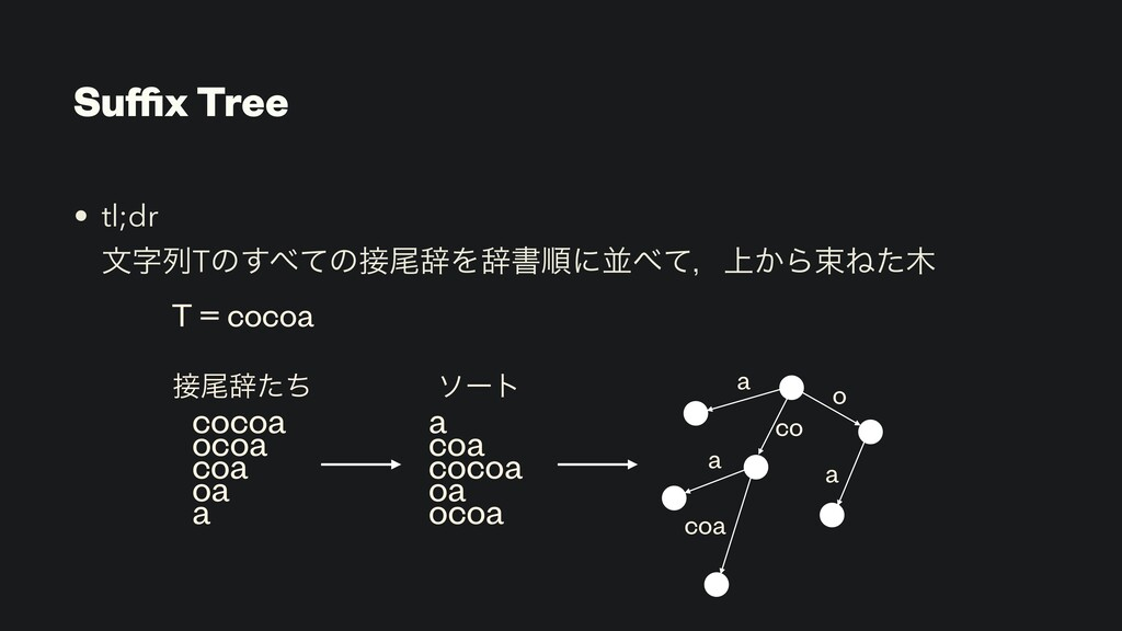 Suffix Tree • tl;dr  จྻTͷͯ͢ͷඌࣙΛࣙॻॱʹฒͯɼ্͔ΒଋͶͨ...