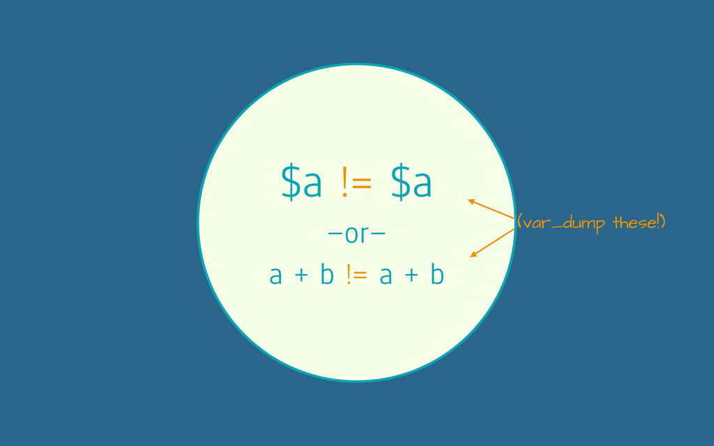 $a != $a —or— a + b != a + b (var_dump these!)
