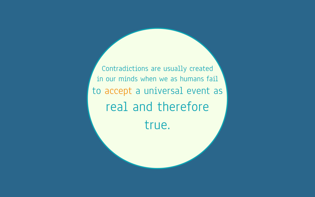Contradictions are usually created in our minds...