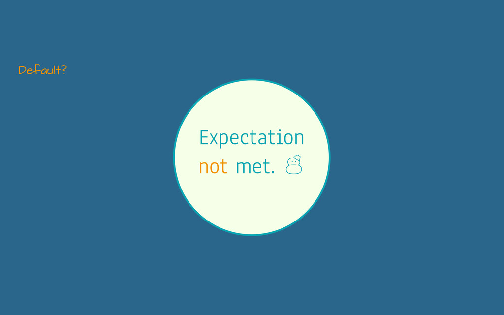 Expectation not met. ' Default?