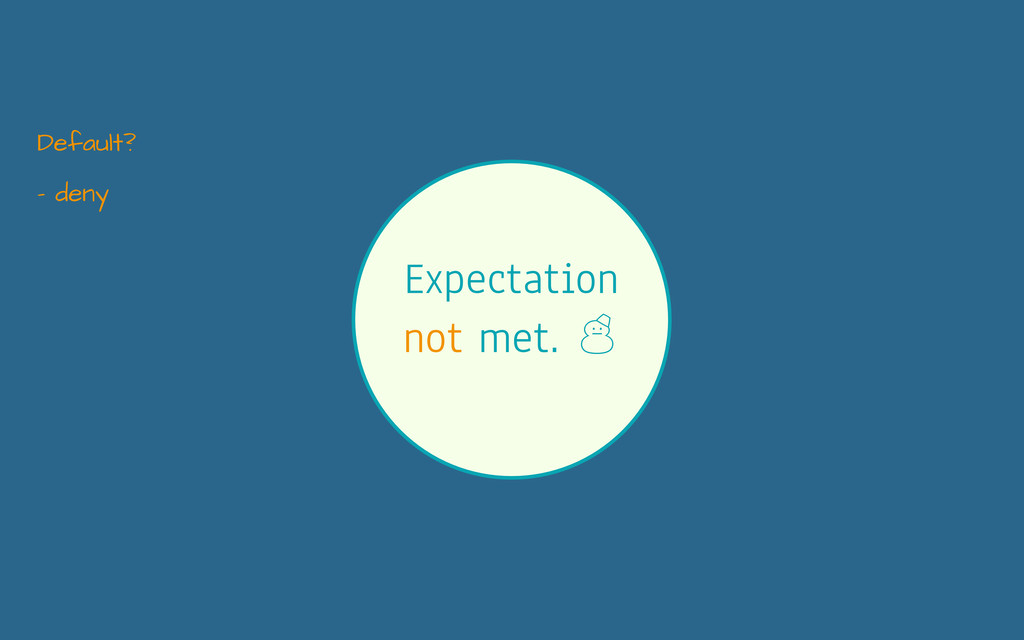 Expectation not met. ' - deny Default?