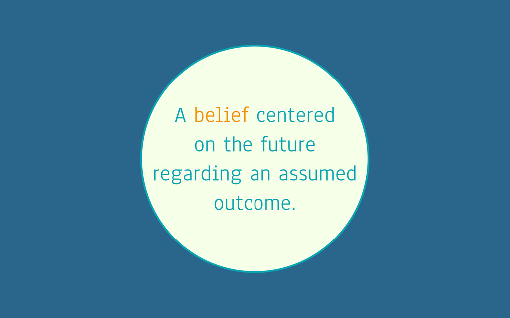 A belief centered on the future regarding an as...