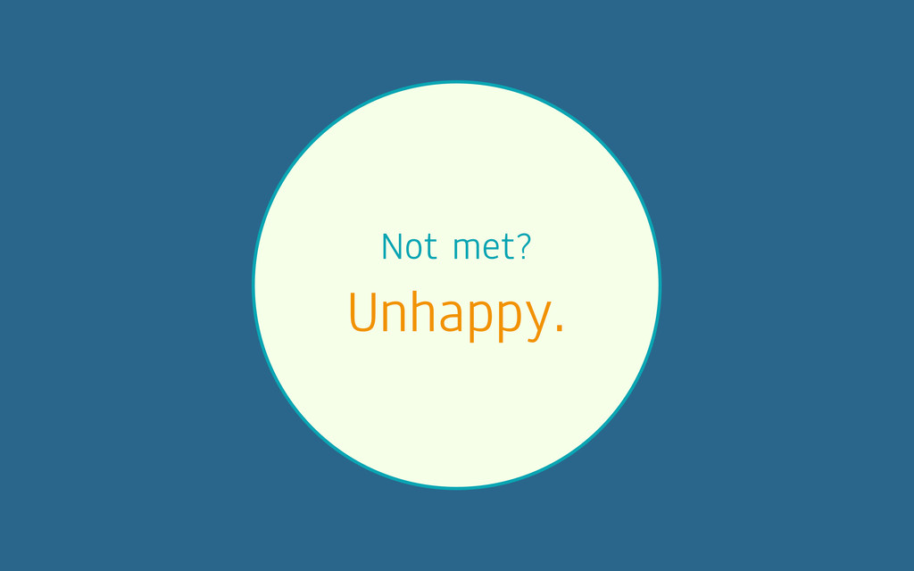 Not met? Unhappy.