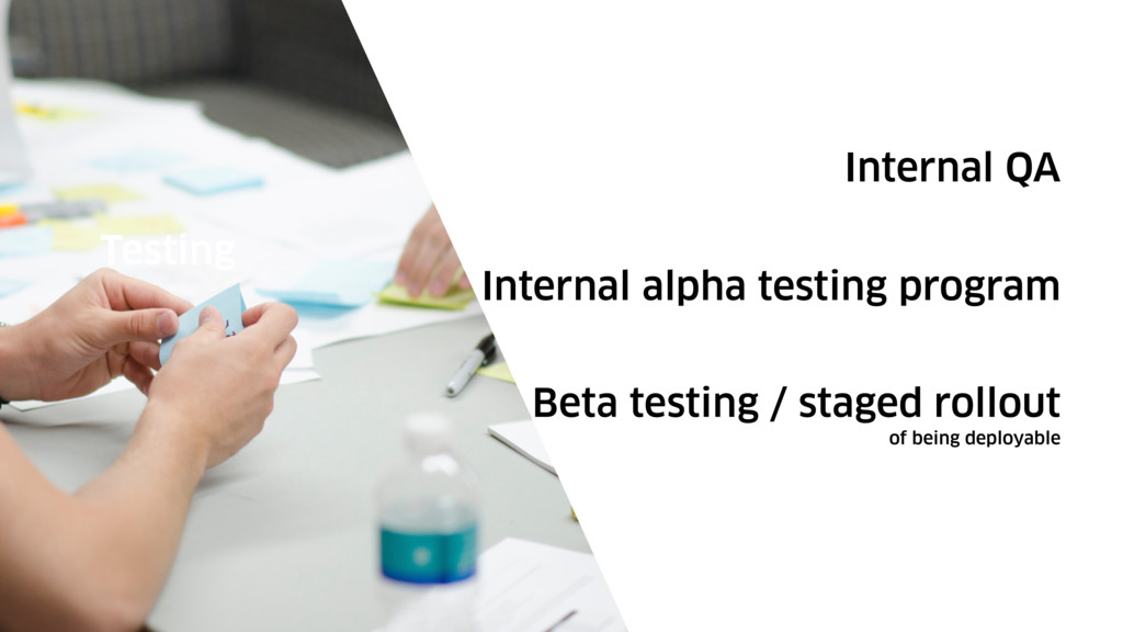 Internal QA Testing Internal alpha testing prog...